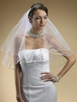 Cinthia - Beautiful bold Swarovski crystal edge 2 tier veil - SPECIAL