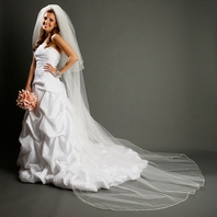 Classic and dramatic two tier satin cord edge cathedral veil - SALE!!