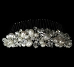 Classic ivory freshwater pearl and crystal wedding comb - SALE
