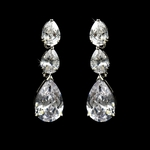 Classy Cubic Zirconia  Dangle Style Silver Earrings  - SALE!!