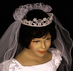 Communion pearl crown and veil set - SPECIAL