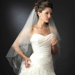 Couture 2-tier crystal silver edge wedding veil - SALE