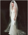COUTURE Elegant 2-tier Cathedral Swarovski crystal bridal veil - SALE!!!