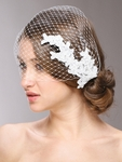 COUTURE French Netting Bridal Veil with Vintage Lace - SALE