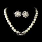 Couture ivory pearl bridal necklace set - SALE