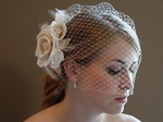 Couture Ivory Rum flower with cage veil - SALE!!