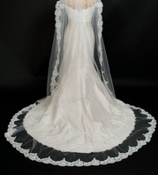 COUTURE Light ivory lace edge mantilla style cathedral veil - SPECIAL