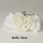 Cream Floral Rose Rhinestone Evening Bag