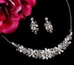 Crystal and Freshwater Pearl and Swarovski Wedding Necklace Set  - SALE