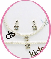 crystal butterfly children's jewelry set