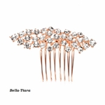 Crystal Clusters Rose Gold Wedding or Prom Comb