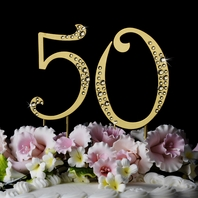 Crystal Number 50 for Birthday or Anniversary Cake Topper