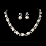 Cubic Zirconia & Ivory Pearl Bridal Necklace Set -- SPECIALLY PRICED!!