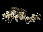 Dahlia- Beautiful gold floral bridal hair comb