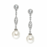Dangle Earrings with CZ Filigree & Bold Pearl