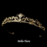 Daniella - Elegant Gold WeddingTiara with Pearls