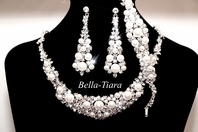 David Tutera bridal necklace set Swarovski crystal pearl 3pc set - RENTAL