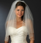 Dazzling 2-tier silver beaded wedding veil - SPECIAL