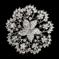 Dazzling Antique Silver Clear Rhinestone Brooch