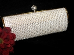 Dazzling Bridal or Evening White Crystal Purse Clutch - BACK IN STOCK