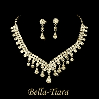 Dazzling gold plated rhinestone drop necklace set - SALE