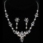 Delia - Freshwater pearl romantic wedding necklace set - SALE