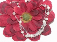 Delicata -Crystal and pearl bridal bracelet - SALE!!