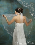Delicate Embroidered Design Edge Bridal Veil