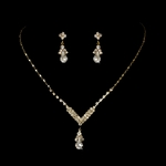 Denise - Elegant gold rhinestone drop necklace set - SALE