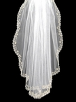 Designer embroidered beaded edge scalloped bridal veil - SALE