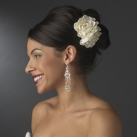 Diamond White Garden Rose Cluster Flower Hair Clip - SALE!!
