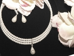 Diana - Triple Strand Elegant Choker Bridal Necklace Set