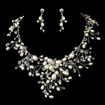 Dramatic freshwater pearl crystal wedding necklace set - SPECIAL one left