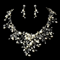 Dramatic freshwater pearl crystal wedding necklace set - SPECIAL