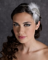Edward Berger Feather and Crystal Headband-8309-SALE