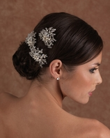Designer Edward Berger crystal and pearl Headpiece - 3 Piece Set - SPECIAL