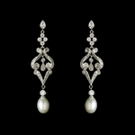 Elaine - Victorian CZ Freshwater creamy pearl Bridal Earrings - SALE!