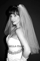 Elegant 2 tier crystal edge wedding veil - SPECIAL