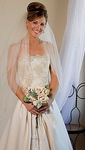 Elegant 2-tier customize champagne wedding veil