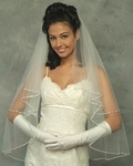 Elegant  2-tier silver and rhinestone edge bridal veil