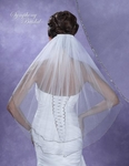 Elegant 2 tier silver edge wedding veil - SPECIAL