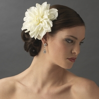 Elegant Bridal Diamond White Dahlia Flower Hair Clip  - SALE!!