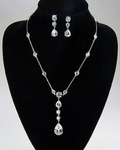 Elegant Clear Cubic Zirconia Teardrop Wedding Necklace Set - SALE!