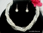 Elegant clusters of pearl wedding necklace set - SPECIAL