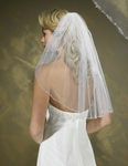 Elegant crystal beaded edge wedding veil blusher - sale
