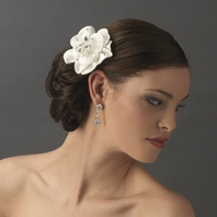 Elegant crystal beaded Fabric Flower Bridal Hair Comb - SALE!!