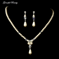 Elegant Crystal ivory Pearl drop Neckace Set - SALE!!!