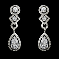 Elegant Cubic Zirconia Bridal Earrings - Clip on or Pierced