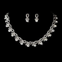 ELEGANT CZ crystal ribbon collar necklace set - SPECIAL one left!!