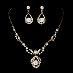 Elegant CZ drop Gold Bridal Jewelry Set -- SALE
